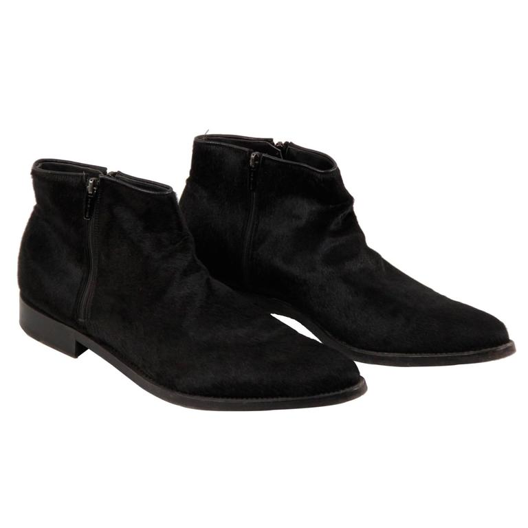 Pony Hair Leather MEN ANKLE BOOTS