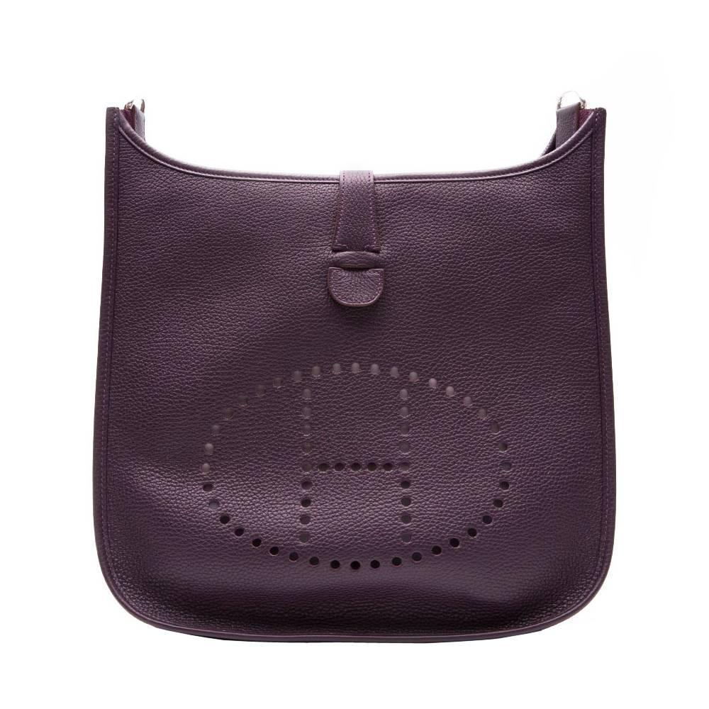 discount hermes bags - Hermes Raisin Leather Evelyne Shoulder Bag For Sale at 1stdibs