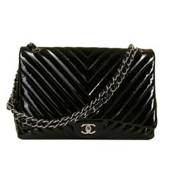 RARE FIND Chanel Black Patent Chevron 35cm Maxi Bag with Silver Hardware