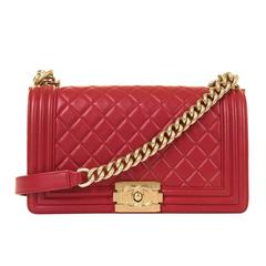 Fabulous New Chanel Imperial Red 25cm Medium Quilted Boy Bag with Gold Hardware