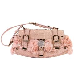 Versace Baby Pink Fur & Snakeskin Shoulder  Bag with Gold & Silver Hardware