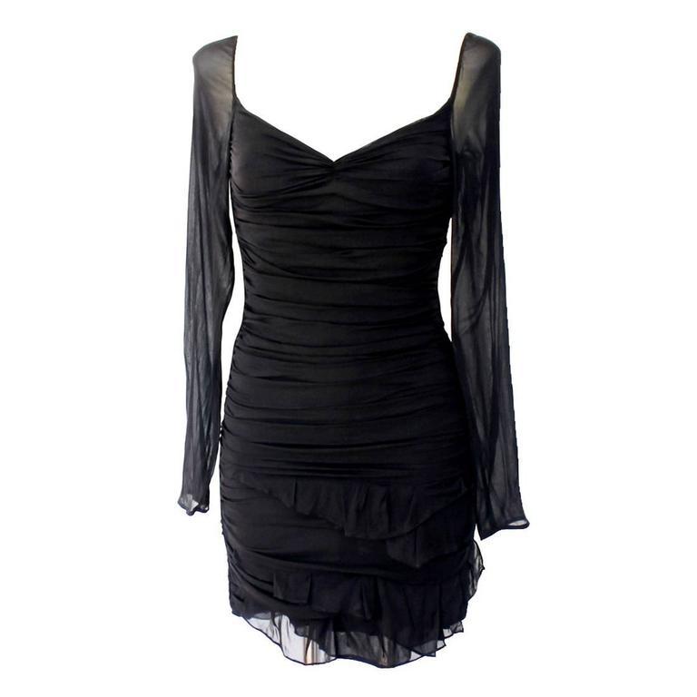 14f627a021 Gucci Tom Ford Spring 2003 Black Ruched Silk Dress at 1stdibs