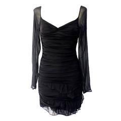 Gucci Tom Ford Spring 2003 Black Ruched Silk Dress