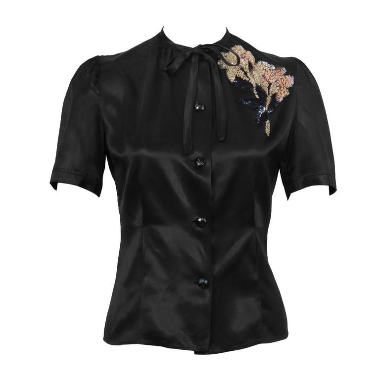 1940's Anonymous Black Satin Blouse With Beaded Flower For Sale
