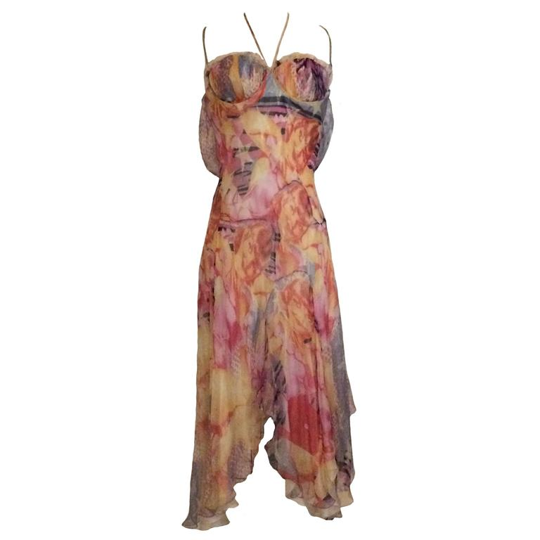Alexander McQueen 2003 Silk Blonde Girl Pin Up Draped Strappy Backed Dress 1