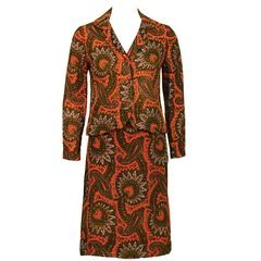 1960's Anonymous Orange Paisley Skirt Suit