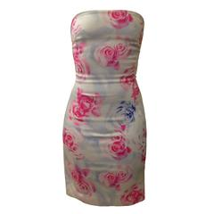 Versus by Versace Pink Blue Rose Print Bodycon Strapless Cut Out Back Mini Dress