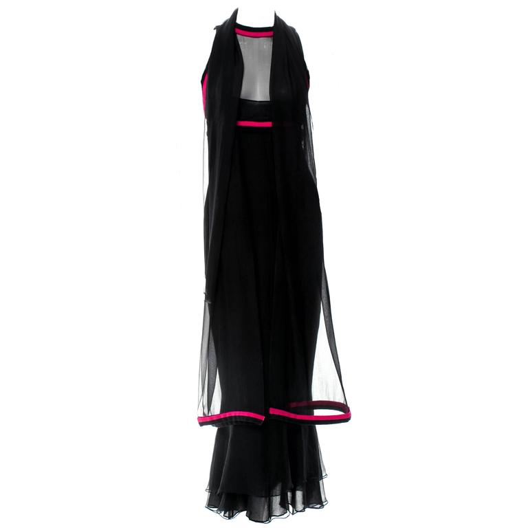 Important Vintage Chanel Silk Cashmere Dress Evening Gown & Scarf
