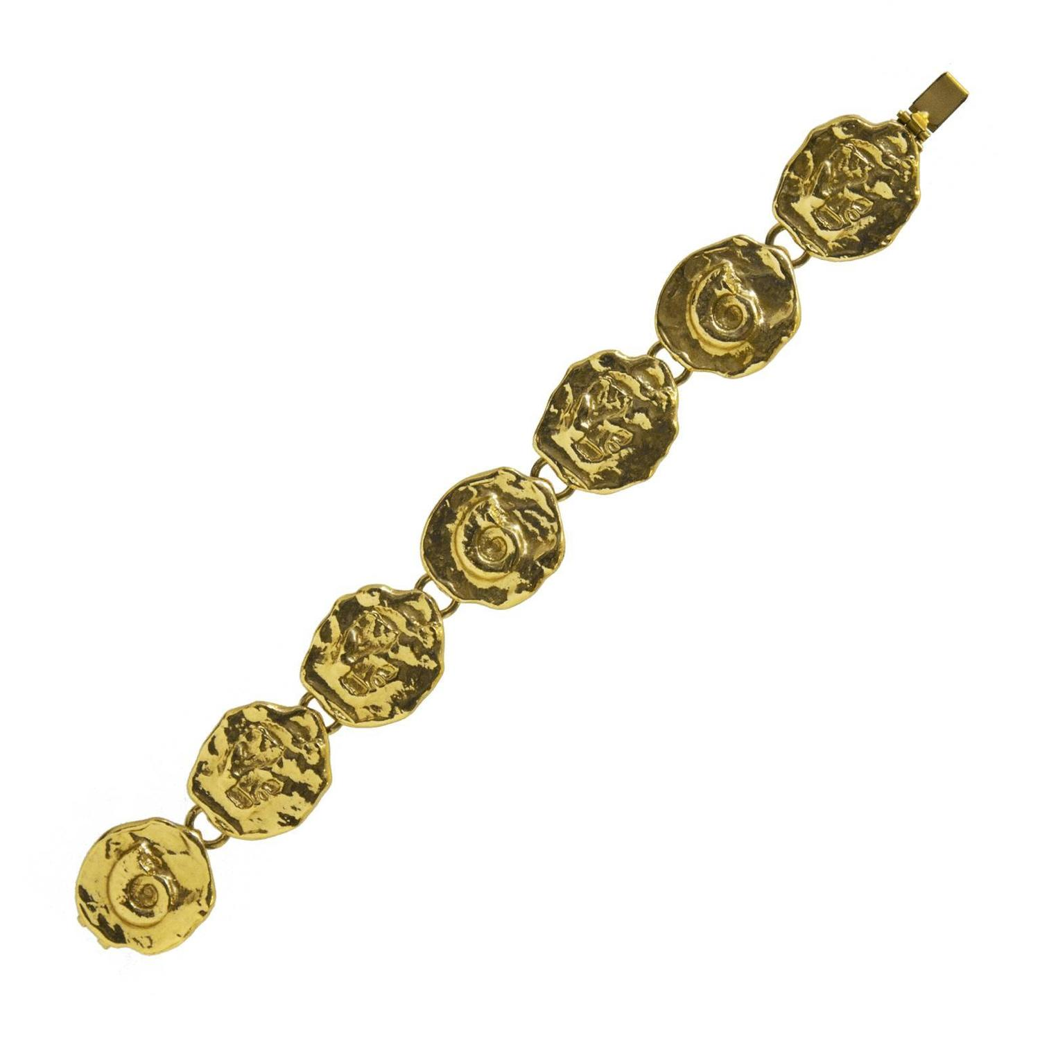 1980 39 s yves saint laurent ysl gold abstract medallion bracelet for sale at 1stdibs - Bracelet yves saint laurent ...