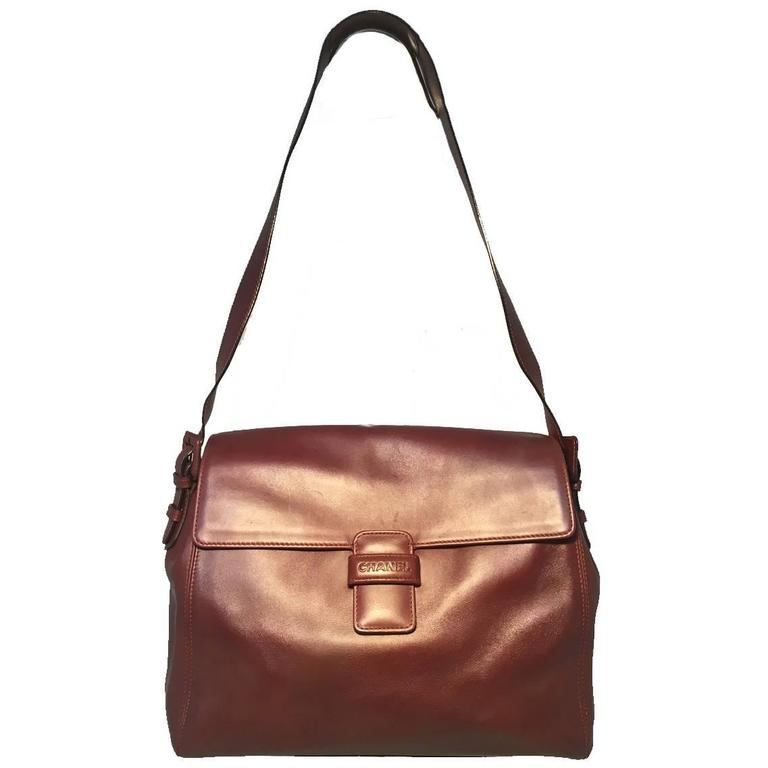 Chanel Maroon Leather Top Flap Shoulder Bag