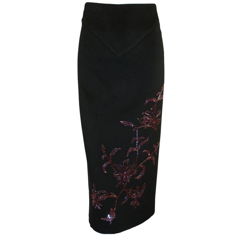 "F/W 1998 ""Joan"" Runway Alexander McQueen Beaded Black Cashmere Pencil Skirt"