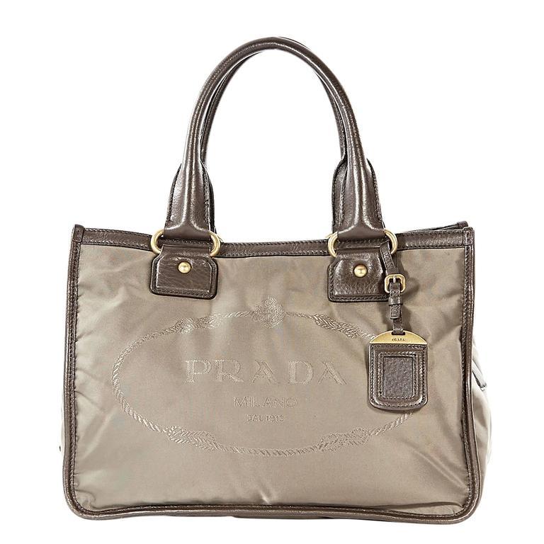 Taupe Prada Logo Fabric Tote Bag