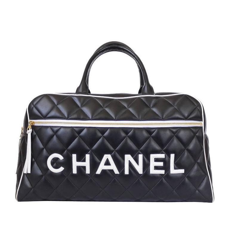 Vintage Chanel Black Leather Jumbo Logo Bowling Bag Rare