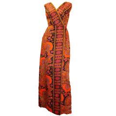 60s Paisley Print Maxi Dress