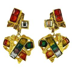 Christian Lacroix Vintage Heart Dangling Earrings Rainbow Collection
