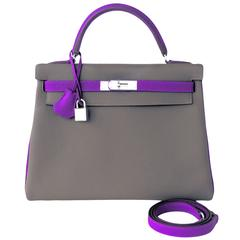 Hermes HSS Taupe Anemone Special Order Horseshoe 32cm Togo Kelly Bag Exclusive