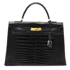 Hermes Kelly 35 Black Crocodile