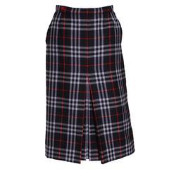 Burberry wool check skirt, 1980s