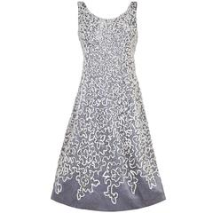 1950s Silver Beaded Dress with Tulle Applique