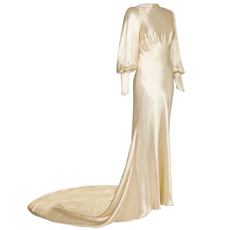 12973ecba617 1930s Silk Satin Bias Cut Ivory Wedding Dress at 1stdibs
