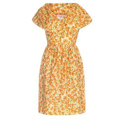 1960s Orange Floral Print Dress