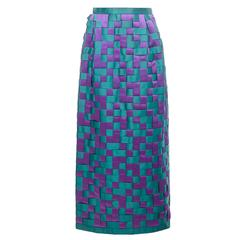 1960s Couture Green Purple Woven Satin Long Pencil Skirt