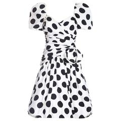 1980s Lillie Rubin Polka Dot Puffball Dress