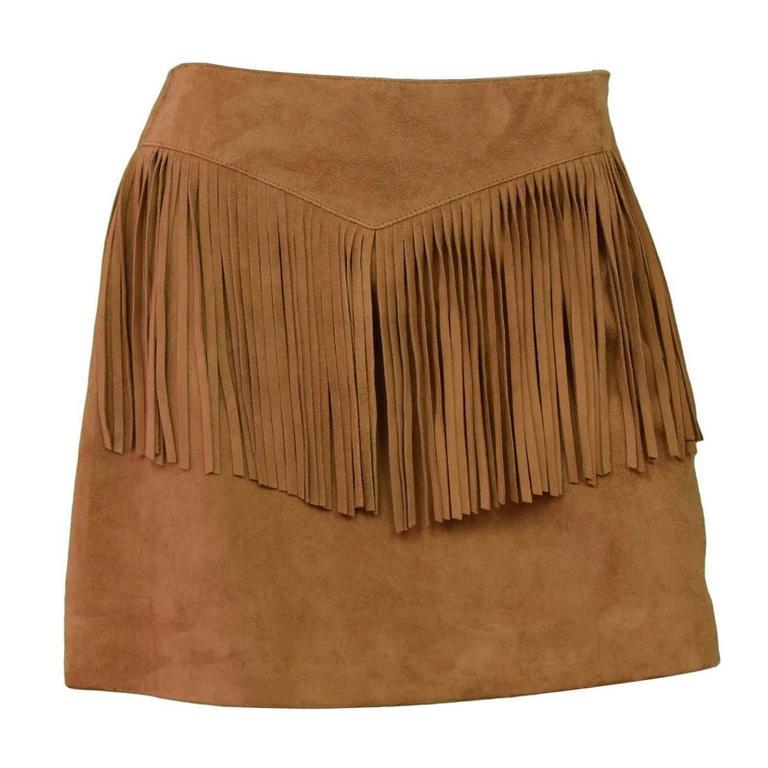 Saint Laurent Tan Suede Fringe Mini Skirt sz 40 1