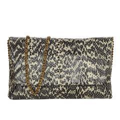 Lanvin Black & Ivory Embossed Snakeskin Clutch BHW