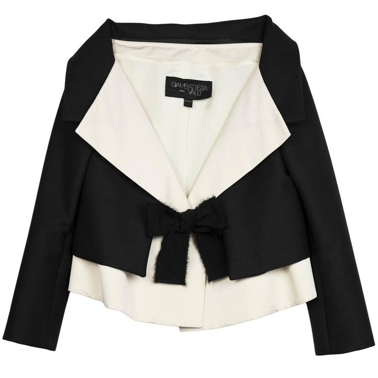 Giambattista Valli Fall '07 Runway Black & Ivory Silk Cropped Jacket sz IT42