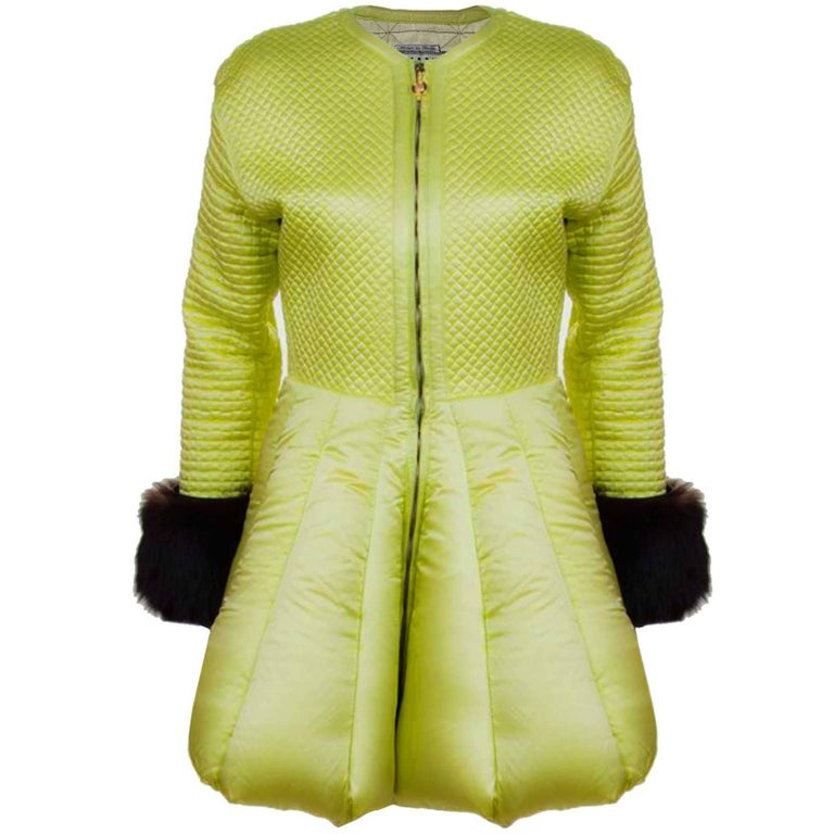 Versace Vintage Collector's Lime Green Quilted Puffer Coat sz 42 For Sale
