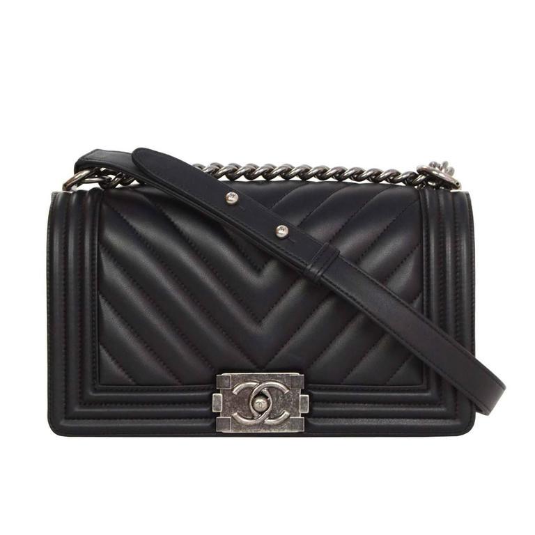 226305d8bf Chanel  16 Black Chevron Lambskin Old Medium Boy Bag SHW at 1stdibs