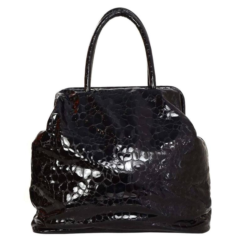 Jil Sander Black Embossed Patent Large Frame Tote Bag SHW