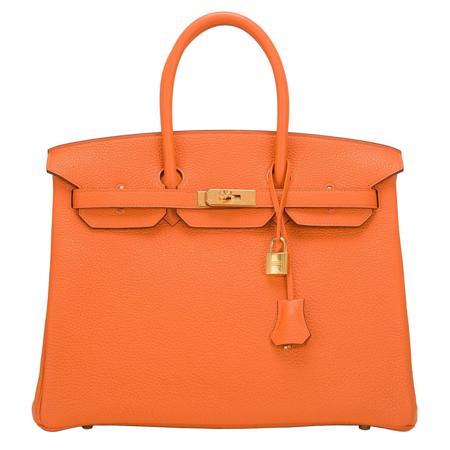 kelly purses - Hermes Orange Clemence Birkin 35cm Gold Hardware at 1stdibs