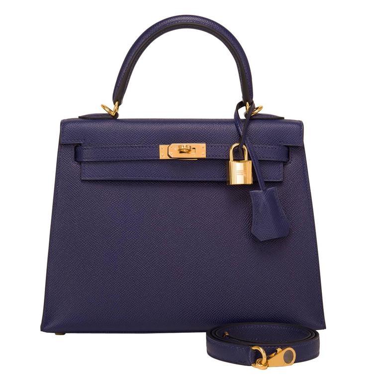 Hermes Blue Sapphire Epsom Sellier Kelly 25cm Gold Hardware For Sale