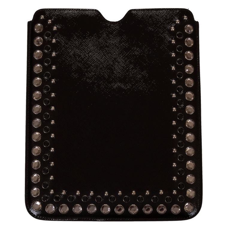 a1accedae7a3 Prada Bejeweled Black Leather Ipad Cover Case For Sale at 1stdibs