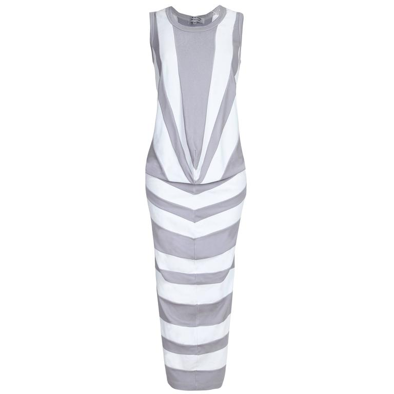 Comme des Garcons Grey and White Striped Jersey Dress  For Sale