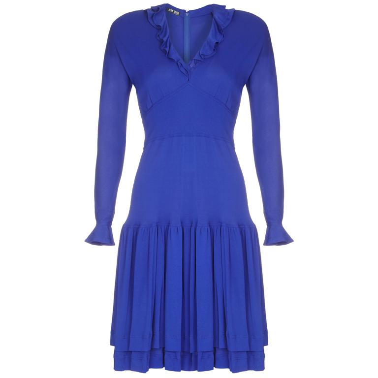 1970s Jean Muir Royal Blue Jersey Dress