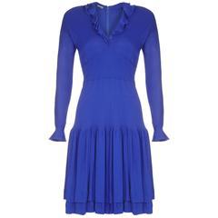Early 1980s Jean Muir Royal Blue Jersey Dress
