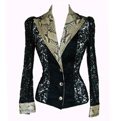 Rare Dolce & Gabbana Black Lace Jacket with Genuine Python Trim Size 40 1990s
