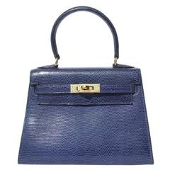 Exceptional Hermes Mini Kelly 20 cm Bag 3 ways Blue Lizard Gold Hdw