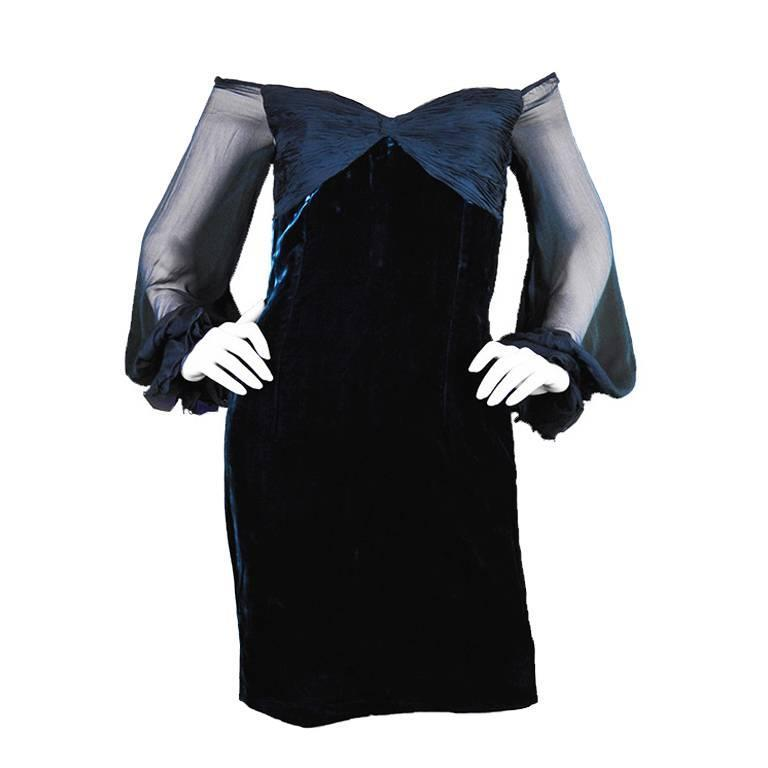 Valentino A/W 1991 Midnight Blue Velvet & Silk Chiffon Boutique Cocktail Dress