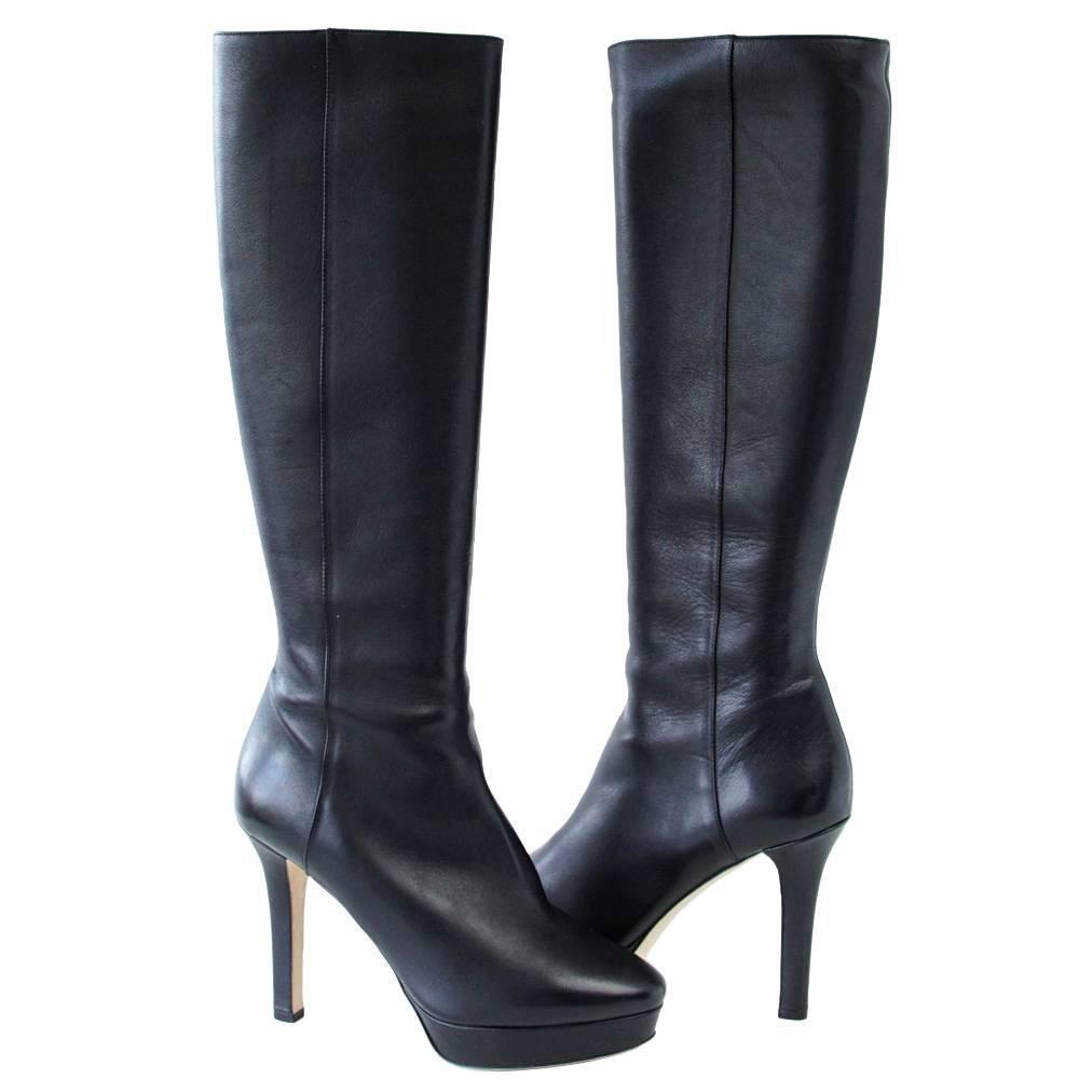 2317e5e3b7f0 Jimmy Choo Platform Knee High Black Leather Boot For Sale at 1stdibs