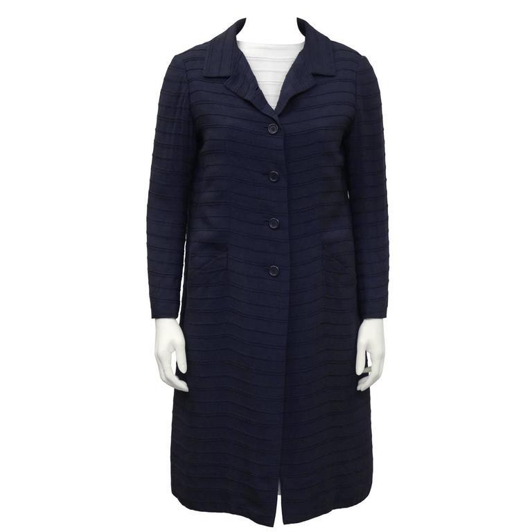 1960's Nina Ricci Navy & White Dress and Coat Ensemble