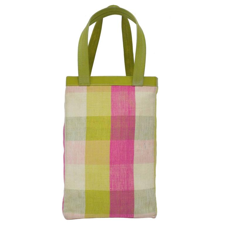 1960's Bonnie Cashin Plaid Shopping Tote Bag