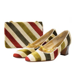 1960's Joseph Larose Velvet Bag and Shoe Set