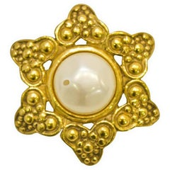 1980's Chanel Gold & Pearl Pin