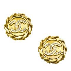 1988 Chanel Gold-Tone & Rhinestone CC Earrings