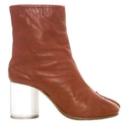 Maison Martin Margiela Leather Tabi Ankle Boots With Lucite Heels