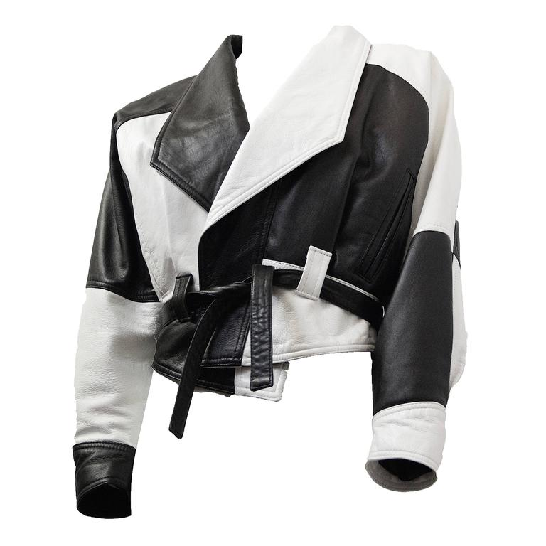 80s Black and White Napa Leather Cropped Jacket   For Sale